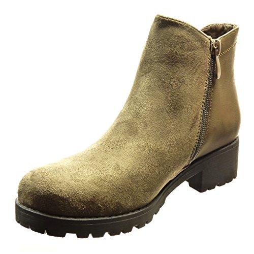 ancho Moda 4 boots Talón Tacón chelsea Botines de Caqui alto bimaterial Zapatillas Angkorly mujer CM EqxvRq