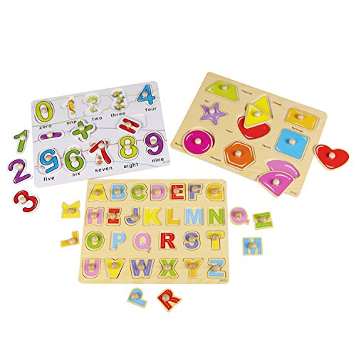 (USATDD Kids Toddler Puzzles Wooden Peg Chunky Puzzles for 2 3 4 5 Years Old (Set of 3) - Numbers, Alphabet, and Shapes Puzzle Toy Board Game Cognitive Learning Gift New Version)