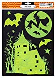 Halloween Glow-in-Dark Spooky Haunted House, Witch and Full Moon Window Clings