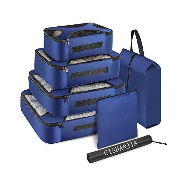 CISHANJIA Organizer Valigie Set di 7 Cubo di Viaggio Cubi di Imballaggio con Contenitore per Cosmetici, Sacca… 1 spesavip