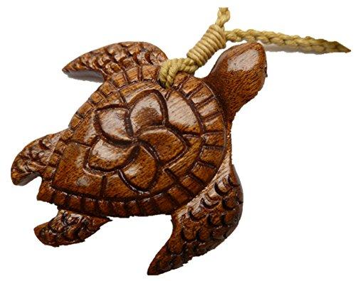 Aloha Passion Hawaiian, Natural Koa Wood Pendant Turtle w/adjustable Hemp cord