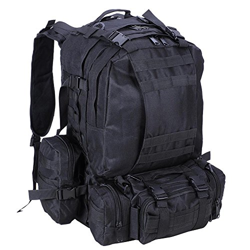 Tactical Camo Backpack Outdoor Military Assault Molle Rucksack Waterproof Nylon for Men and Women Camping Hiking Trekking (Green)