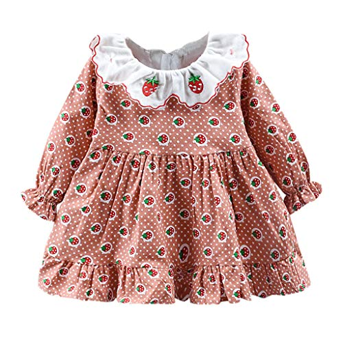 Toddler Girl Ruffle Autumn Winter Dress,Crytech Warm Thick Long Sleeve Lovely Cute Cherry Strawberry Print One Piece Princess Skirt for Baby Girl Party Casual Clothes (3-4 Years, Yellow)
