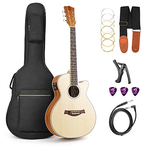 Vangoa 36 Inch 3/4 Acoustic Electric Cutaway Guitar Folk Guitar Spruce wood Travel Guitar, 2 Band EQ with Truss Rod, Capo, Tuner, Extra Strings, Guitar Cable, Picks, Strap and Gig Bag - Electric Guitar Wood Tone