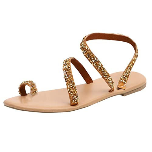 9dad5b65c93 Women Rome Open Toe Rhinestone Decoration Sandals Flats Slip On Shoes  Sandals