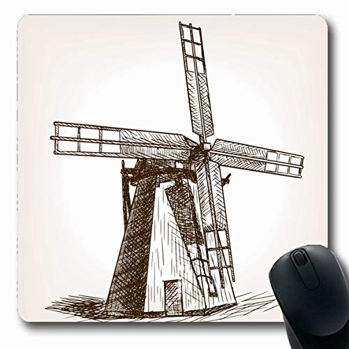 LifeCO Computer Mousepad Structure Brown Blade Windmill Sketch Old Agricultural Make Catch Clip Color Corn Doodle Design Oblong Shape 7.9 x 9.5 Inches Oblong Gaming Non-Slip Rubber Mouse Pad Mat (Best Windmill Propeller Design)