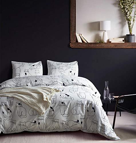 DuShow Cotton White Duvet Cover Set,Twin Soft Animal Bedding Set Kids,Dog Pattern Comforter Cover Set with Zipper Closure