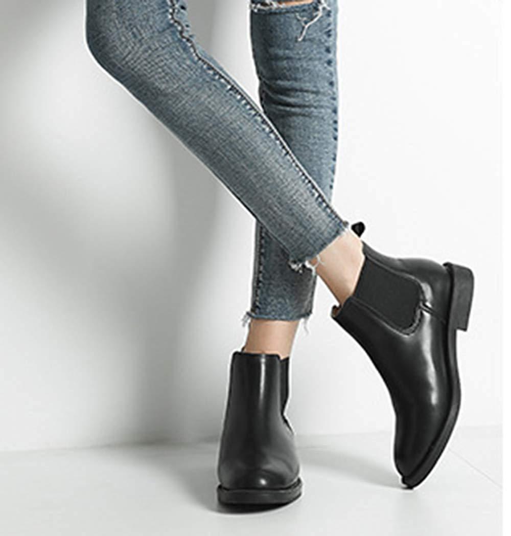 ZHRUI Damen Slip-On Low Heel Ankle Stiefel Mode Chelsea Stiefel Stiefel Stiefel (Farbe   Schwarz 1 Größe   35EU) 521275