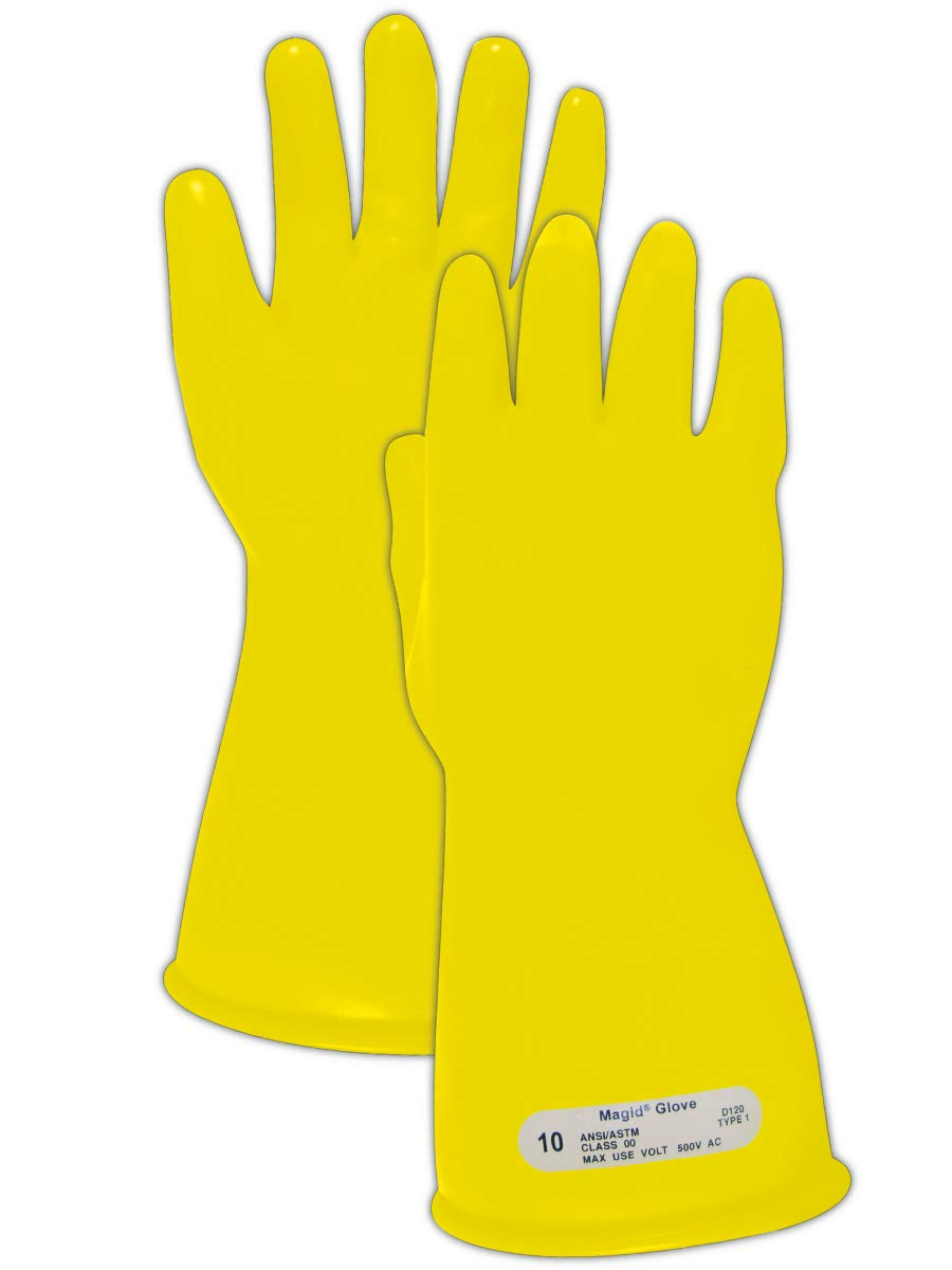 Magid Glove & Safety M-00-11-Y-95 Magid Class 00 Electrical Gloves, Capacity, Volume, Rubber, 9.5, Yellow
