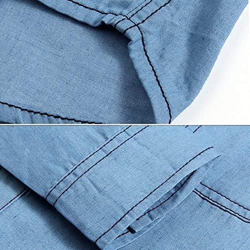 1 Di Retro Giacche Manica Con Cappotto Jeans Stile Lunga Capispalla Lanceyy Uomo A In Hellblau Giacca Bottoni Risvolto Semplice Denim Da Jeans 8Tf1wAq