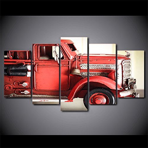 WNIUN ART Canvas Wall Art Pictures Frame Kitchen Restaurant Decor 5 Pieces Fire Truck Red Vehicle Living Room HD Printed Poster Paintings,size 3,With Framed Fire Truck Painting
