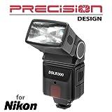 Precision Design DSLR300 High Power Auto Flash for Nikon Coolpix P7800, D3200, D3300, D5300, D5500, D7100, D7200 DSLR Cameras