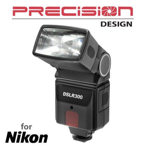 Precision Design DSLR300 High Power Auto Flash for Nikon Coolpix P7800, D3200, D3300, D5300, D5500, D7100, D7200 DSLR Cameras