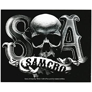 Sons of anarchy samcro skull b w sticker