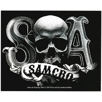 Sons of anarchy samcro skull b w sticker
