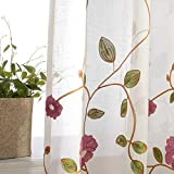 AliFish Embroidered Floral Sheer Curtains Rod Pocket Rustic Leaf Window Traetment Draperies Country