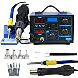 F2C 2in1 862d+ SMD Soldering Iron Hot Air Rework Station LED Display W/4 Nozzle 110V