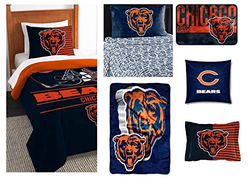 - Northwest NFL Chicago Bears Ultimate 8pc Ensemble: Includes Twin Comforter, sham, Twin Flat Sheet, Twin Fitted Sheet, Pillowcase, Rug, toss Pillow, and Oversized Throw