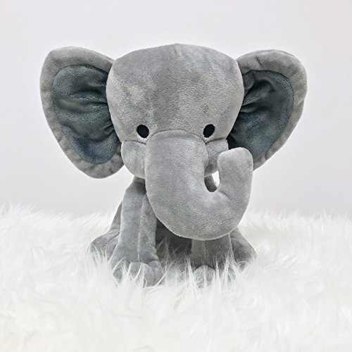 Measures 9 Inches Boy KINREX Stuffed Elephant Animal Plush Great for Nursery Bed Room Decor Grey Girls Toys for Baby