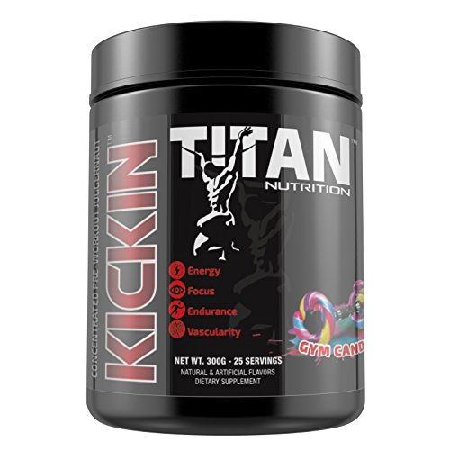 KICKIN- Concentrated pre-workout juggernaut-50 servings-increase focus and sustained energy with Beta Alanine and Citruline Malate (Gym Candy) by Titan Nutrition