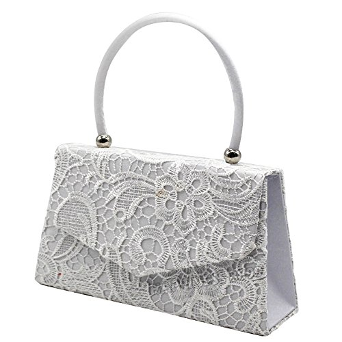 Handle Bag Girly Party Top Clutch Prom Designer Wocharm HandBags Handbag Bag Wedding Lace Womens Silver Vintage Handbag Fashion Clutch Evening Satin 855Y64q