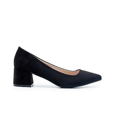 8a885398 ZAPSHOP - Zapato Bailarina de Ante con tacón Cuadrado para Mujer ...