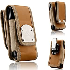 Nubuck Brown Leather Super Strong Rugged Duty Belt Case with Metal Clips for Samsung Galaxy S3, S2, Hercules t989, Attain i777, Epic Touch D710, r760, SkyRocket, Infuse, Galaxy Nexus, Fascinate & Mesmerize.