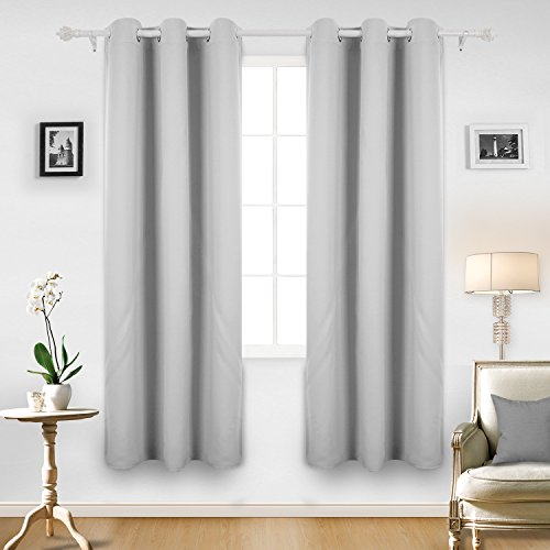 Deconovo Room Darkening Thermal Insulated Blackout Grommet Window Curtains For Bedroom Set of 2 in Greyish White 42x84 Inch