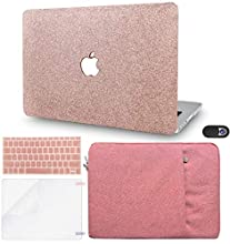 """KECC Laptop Case for MacBook Pro 13"""" (2020/19/18/17/16,Touch Bar) w/Keyboard Cover + Sleeve + Screen Protector + Webcam Cover (5 in 1 Bundle) Hard Shell A2159/A1989/A1706/A1708(Rose Gold Sparkling)"""