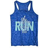 Gone For a Run She Believed She Could So She Did Flowy Racerback Tank Top | Running Tanks Blue | Adult Medium
