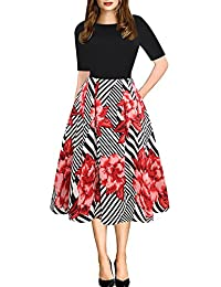 Womens Vintage Patchwork Pockets Puffy Swing Casual Party Dress OX165
