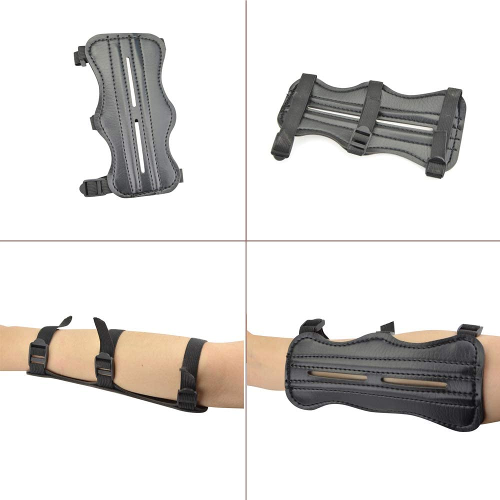 NMCPY Archery Glove 3 Finger Guard Leather/Arm Guard Bracers/Finger Tabs Thumb Ring Finger Protector Protective Gear Set for Compound Bow/Recurve Bow Shooting/Hunting/