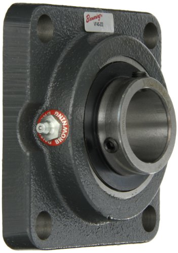 "Browning VF4S-222 Normal-Duty Flange Unit, 4 Bolt, Setscrew Lock, Regreasable, Contact and Flinger Seal, Cast Iron, Inch, 1-3/8"" Bore, 3-5/8"" Bolt Hole Spacing Width, 4-5/8"" Overall Width"