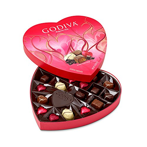 Godiva Chocolatier 20 Piece Valentines Day Heart Shaped Assorted Chocolates Box