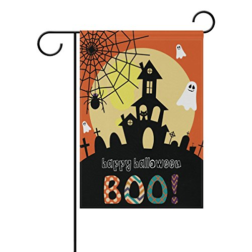 ALAZA Double Sided Happy Halloween Spooky Castle Ghost