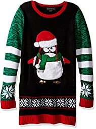 Blizzard Bay Penguin Tunic, Black/Green/Red, Big Girls L