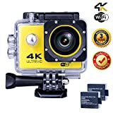 Action Camera 4K WIFI Sports Camera 12 MP Underwater Video waterproof Camcorder HD 1080P and 2 Batteries 170° Wide-Angle Yellow
