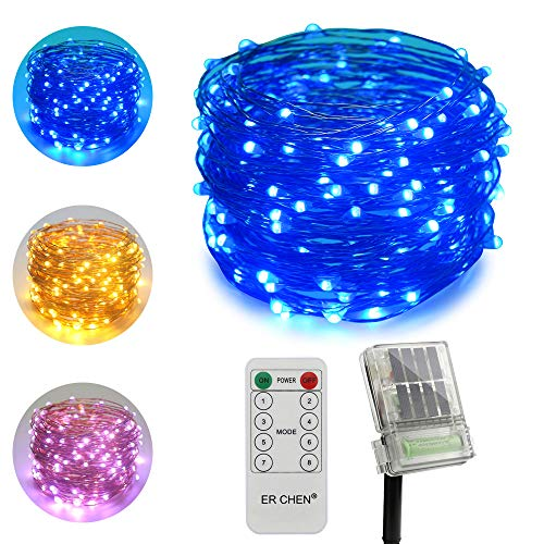 ErChen Dual-Color Solar Powered + Backup Battery Power LED String Lights, 66FT 200 LEDs Remote Control Color Changing 8 Modes Copper Wire Fairy Lights for Outdoor Garden (Warm White, Blue) ()