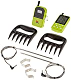 Maverick ET-733 Long Range Wireless Dual Probe BBQ Smoker Meat Thermometer Set with a Larger Display and Bear Paws Shredder - Green