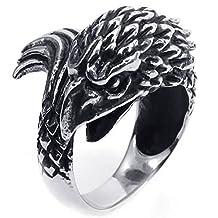 Anazoz Silver Black Retro Punk Style Stainless Steel Cool Gothic Bird Ring