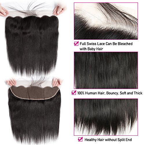 Pizazz 8A Brazilian Straight Hair 16 18 20 and 14 inch Lace Frontal Closure with Bundles Natural Black Straight Human Hair Weave 3 Bundles With Closure by Pizazz (Image #5)