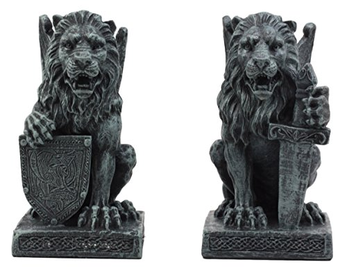 Ebros Gift Stoic Notre Dame Roaring Lion Heart Sword and Shield Bearer Gargoyle On Pedestal Figurine Collectible 6