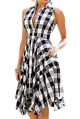PAPAIT Women Sleeveless Side Pockets Plaid Pleated Casual Shirt Dress