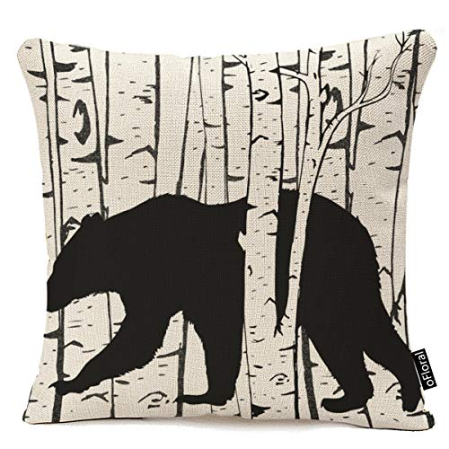 oFloral Black Bear and Deer Birch Forest Throw Pillow case Cover Home Decore Cotton Linen Pillow Cover 18 x 18 Inch (Black Bear Throws)