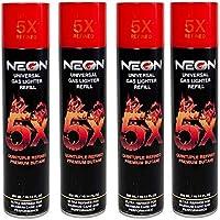 4 Cans Neon 5X Butane Refill Fuel Fluid Lighter Ultra Refined 5 Times 10.14 Oz