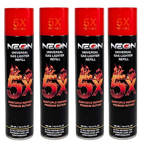 4 Cans NEON 5X Butane Refill Fuel Fluid Lighter Ultra Refined 5 Times 10.14 Oz ()