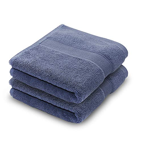 Eaggle Hand Towel Face Towel Set 100% Cotton High Absorbent Facial Cleansing Towel Washcloths 13''x29'' 2 Pack Blue by Eaggle
