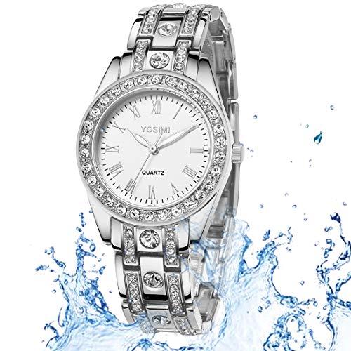YOSIMI Women Watches Quartz Waterproof Silver Steel Bracelet Luminous Sapphire