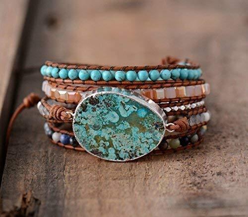 Ocean Jasper Stone Wrap Bracelet | Huge Turquoise Jasper Stone Silver Bracelet | Boho Chic Jewelry | Bohemian Bracelet Chan Luu Style | Natural Jasper Stone Bracelet | Topnotch Quality Bracelet