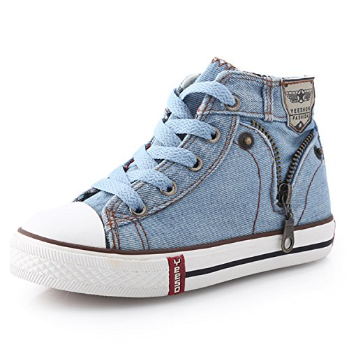 Children Shoes Kids Canvas Sneakers Boys Jeans Flats Girls Boots Denim Side Zipper Shoes 11]()